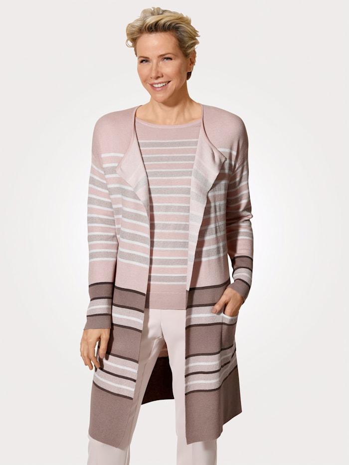 MONA Lang vest met harmonieus streepdessin, Roze/Wit/Rozenhout