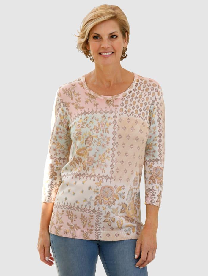 Paola Pullover mit schönem Blumendruck, Mintgrün/Rosé/Sand/Taupe