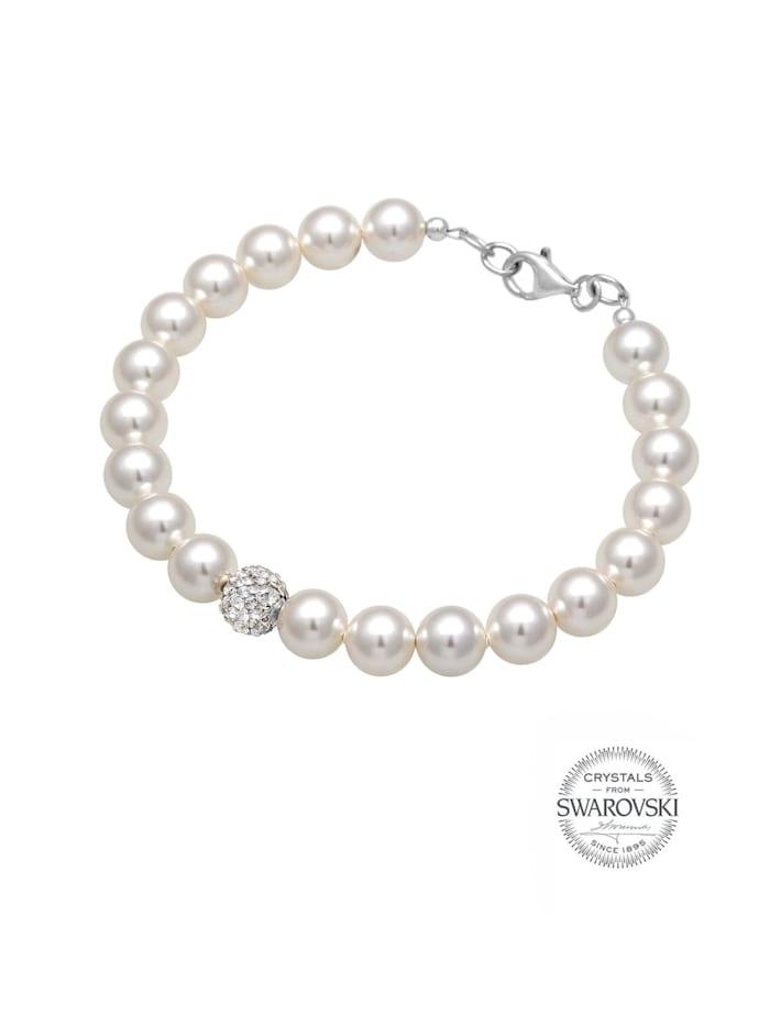 Armband Perlen Swarovski Kristalle 925 Sterling Silber