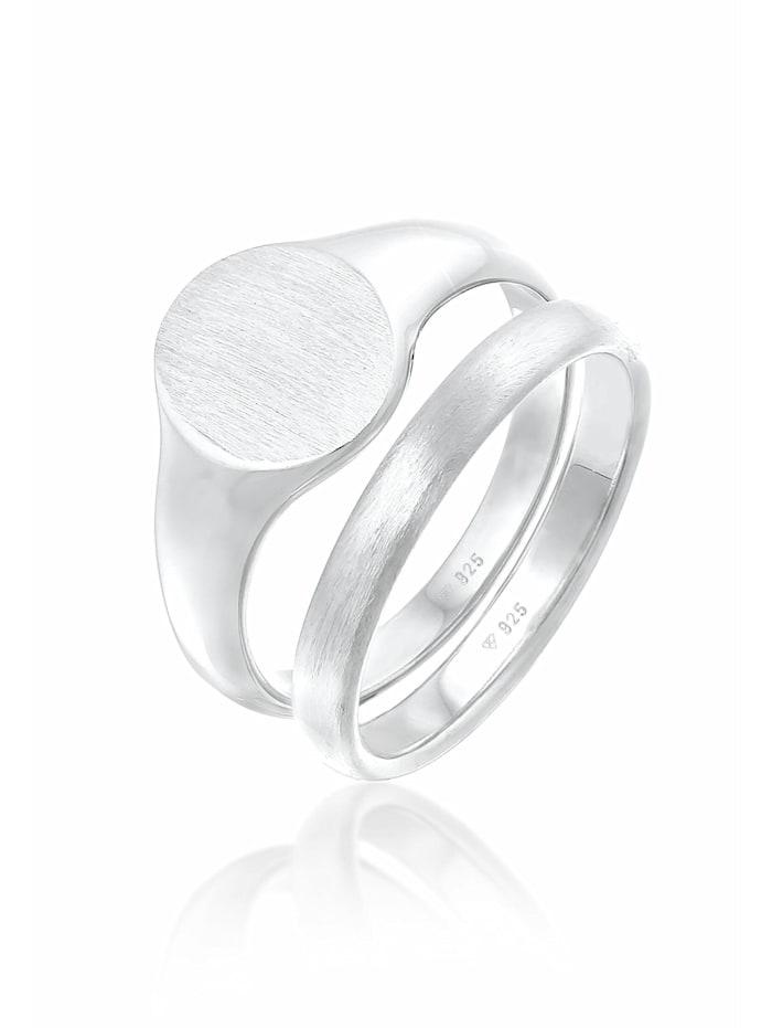 Kuzzoi Ring Herren Siegelring Basic Bandring 2Er Set 925 Silber, Silber