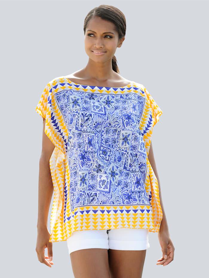Alba Moda Blouse Imprimé façon foulard, Bleu