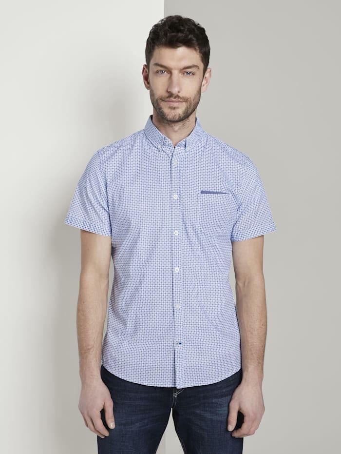Tom Tailor Gemustertes Kurzarm-Hemd mit Brusttasche, white by navy blue dot design