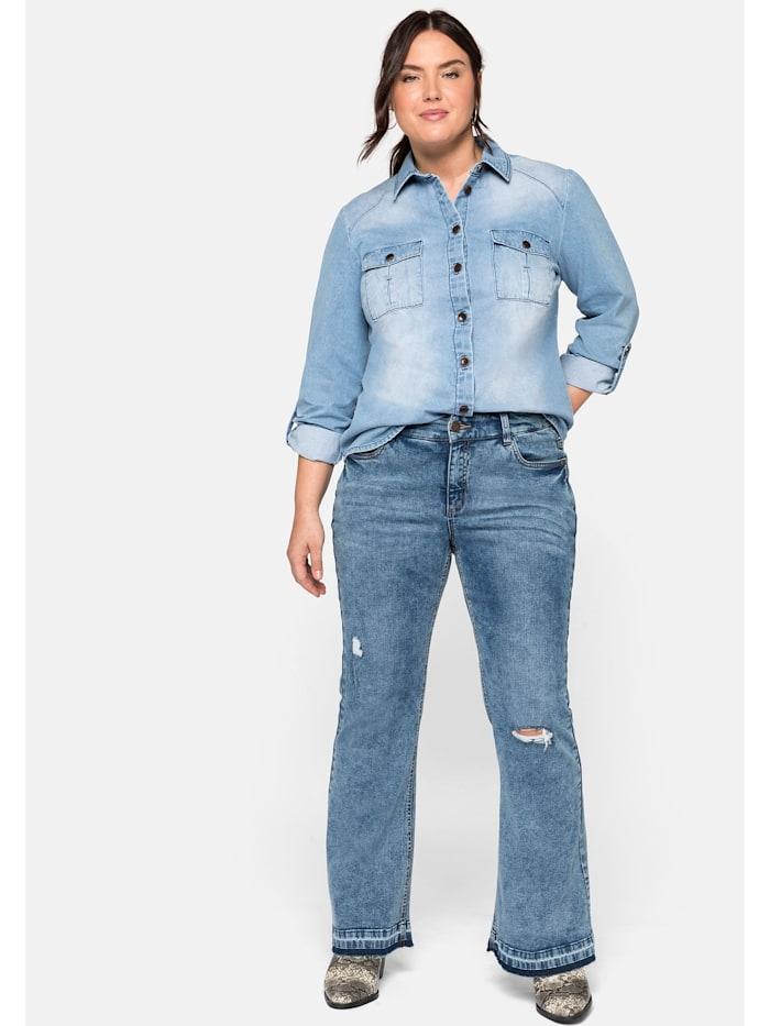 Sheego Jeans mit Destroyed-Effekten und Fransensaum, blue used Denim