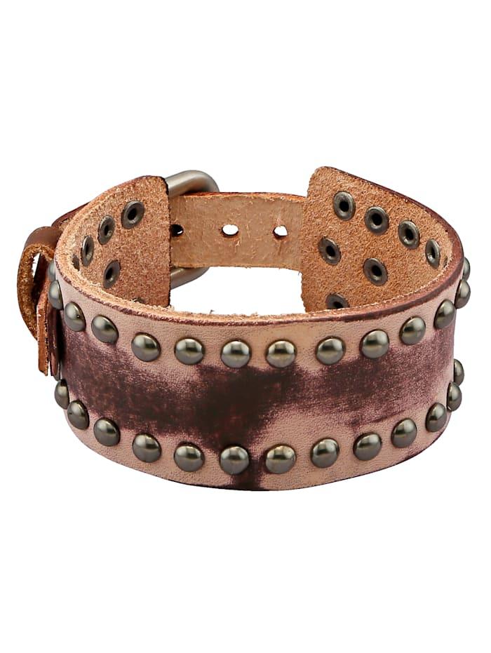 Bracelet en cuir à rivets