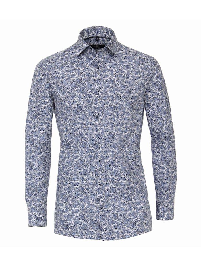 CASAMODA Hemd Print Comfort Fit, Mittelblau