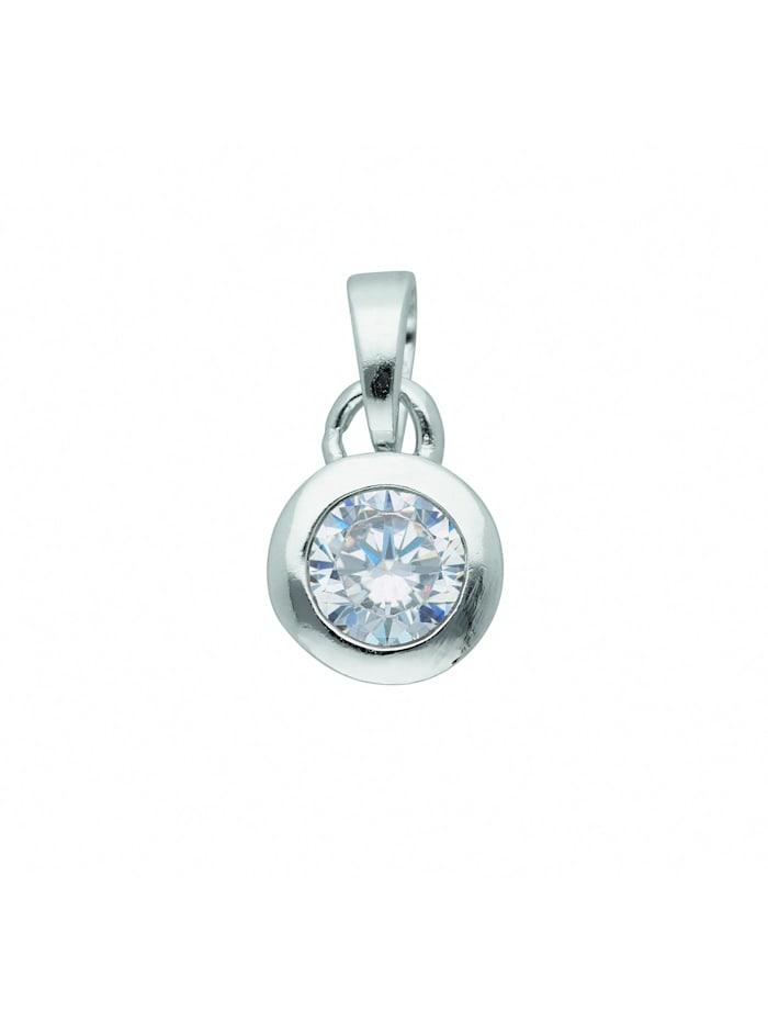 1001 Diamonds Damen Silberschmuck 925 Silber Anhänger mit Zirkonia Ø 7 mm, silber