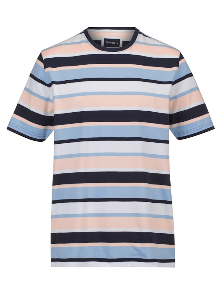 BABISTA T-shirt à motif rayé tissé-teint, Bleu/Rose