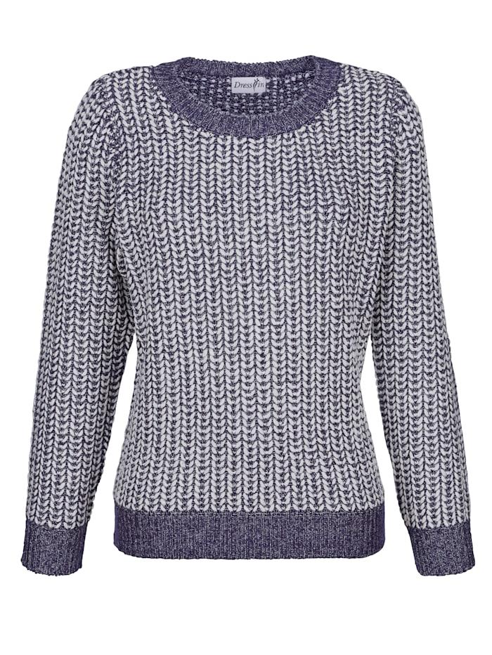 Dress In Pullover mit glänzendem Garn, Dunkelblau/Weiß