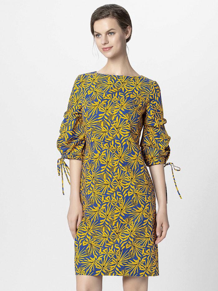 APART Sommerkleid mit gerafften Ärmeln mit Bändchen, gelb-royalblau