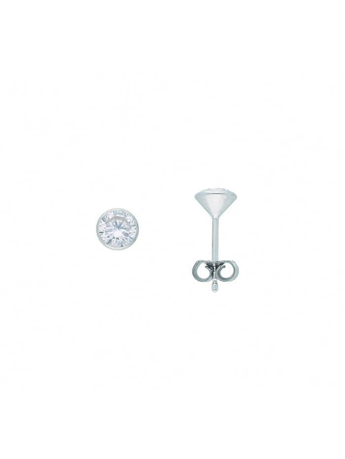 1001 Diamonds Damen Silberschmuck 925 Silber Ohrringe / Ohrstecker mit Zirkonia Ø 5,5 mm, silber