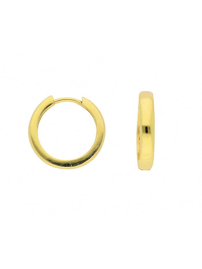 1001 Diamonds Damen Goldschmuck 585 Gold Ohrringe / Creolen Ø 17 mm, gold