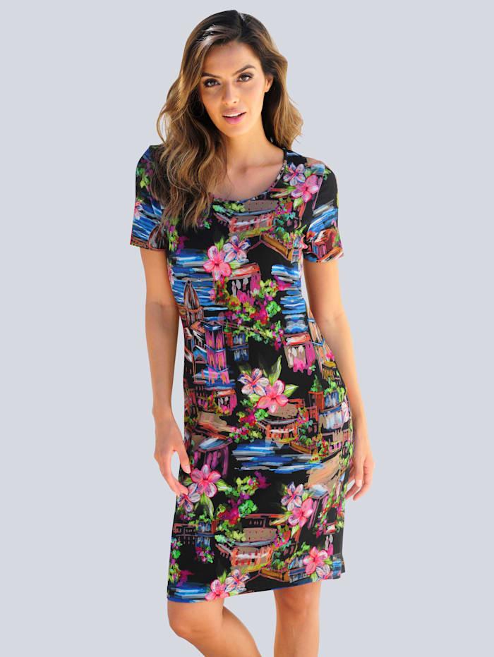 Alba Moda Strandkleid mit Häuserdruck, Schwarz