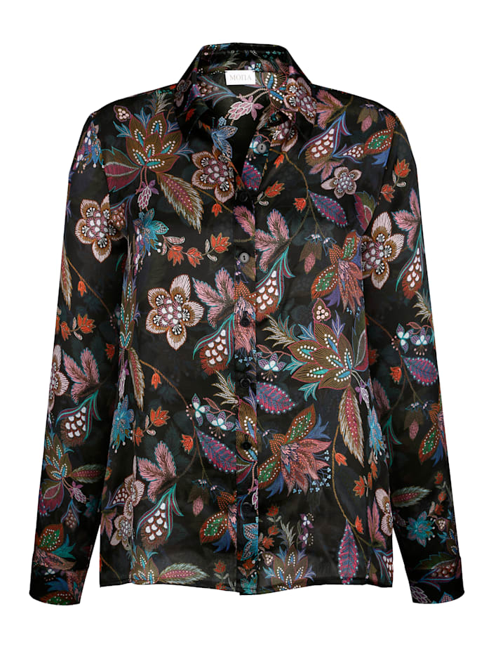 Silk blouse with an eye-catching floral print