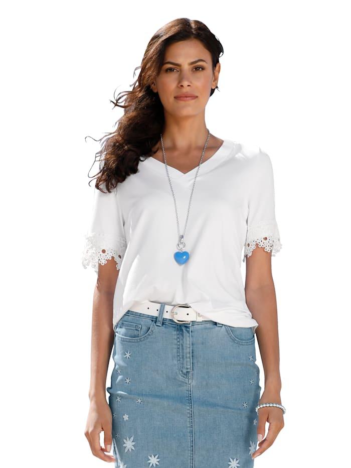 AMY VERMONT Shirt mit Spitze, Weiß