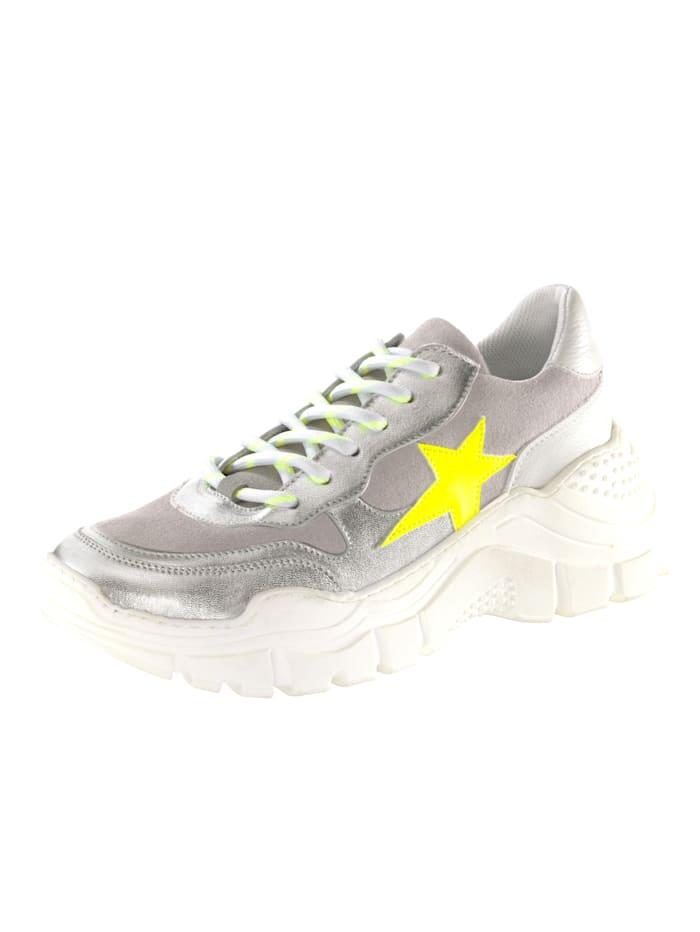 KLiNGEL Sneaker met sterapplicatie, Zilverkleur/Grijs/Neongeel/Wit