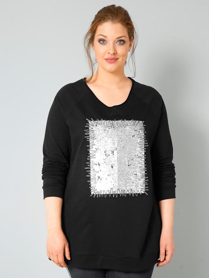 Sara Lindholm Sweatshirt met keerbare pailletten, Zwart/Zilverkleur