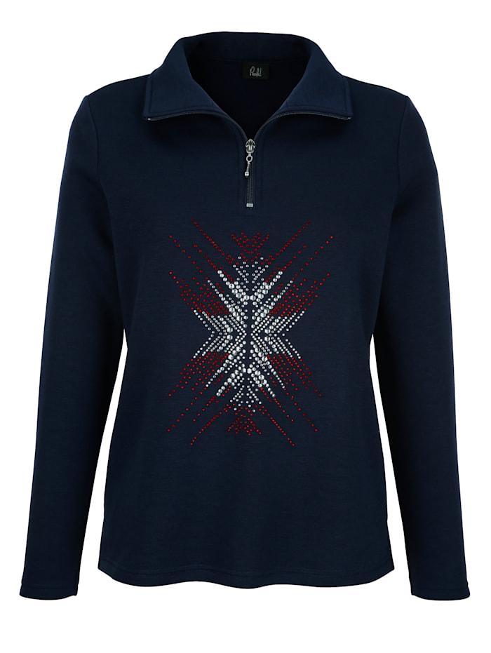 Sweatshirt mit aufwändiger Strasssteindekoration