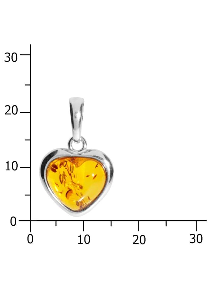 Anhänger - Herz 13 mm - Silber 925/000 - Bernstein
