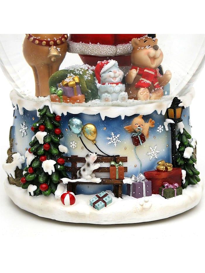 Schneekugel XXL Santa mit lustigem Elch