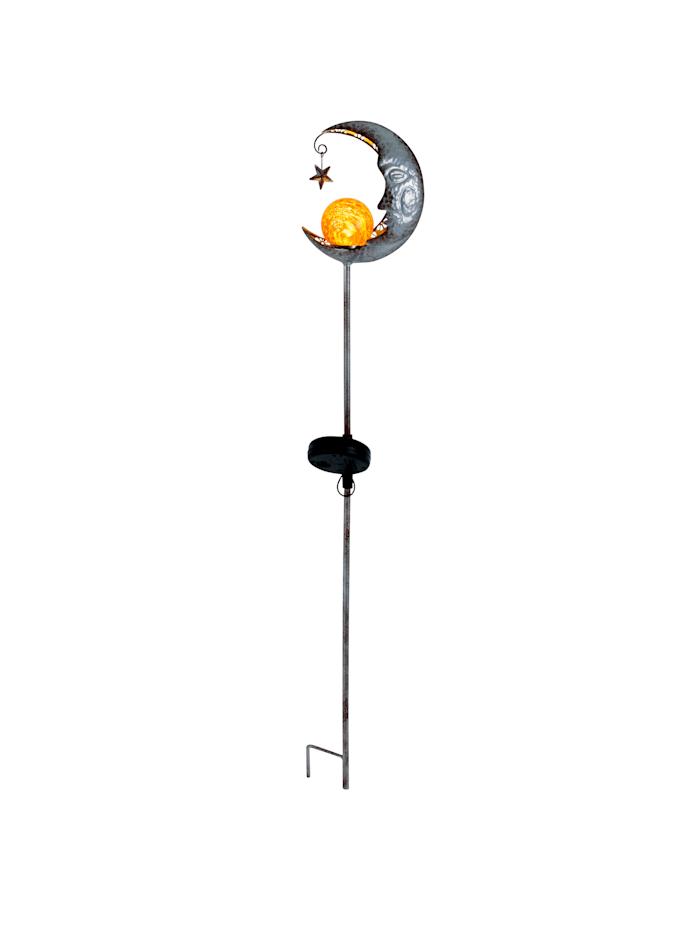 Näve Solcellsbelysning med spett – måne, Silverfärgad
