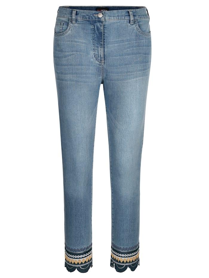 MIAMODA Jeans mit modischer Stickerei am Saum, Blue bleached