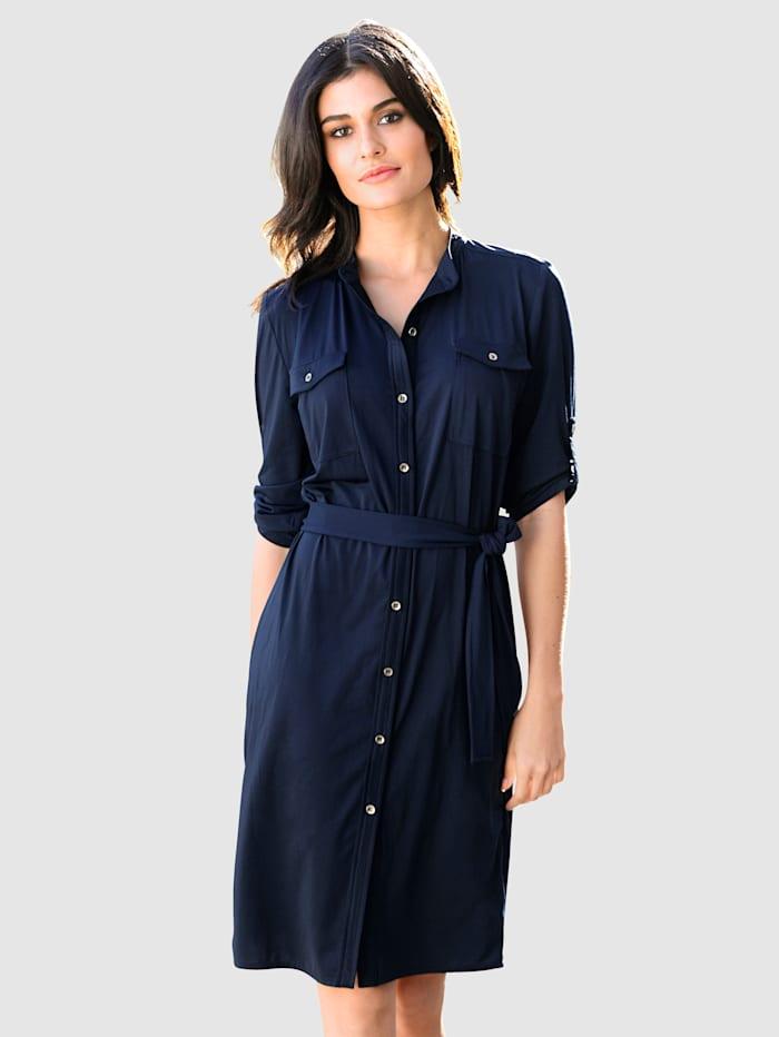 Alba Moda Kleid mit kleinem Stehkragen, Marineblau