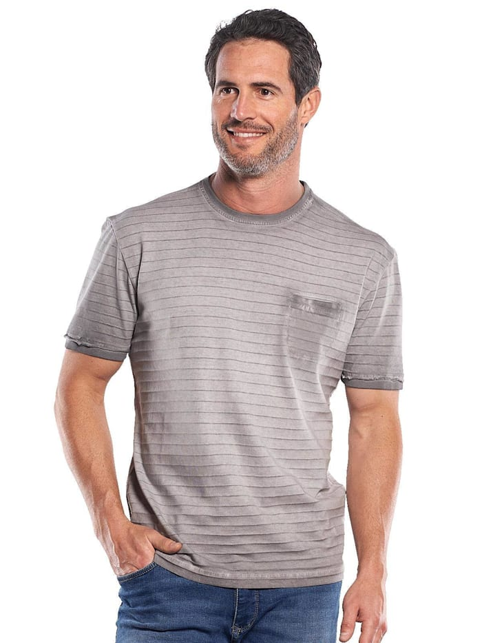 Engbers Rundhals T-Shirt mit Strukturstreifen, Zementgrau