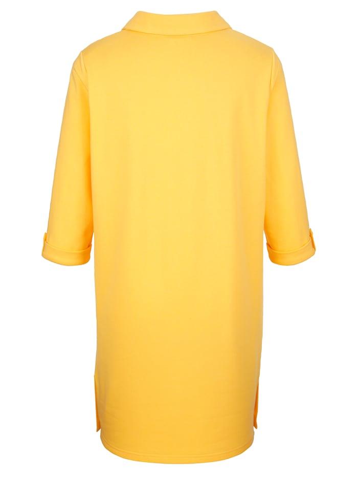 Lang sweatshirt med pynteknapper ved utringningen