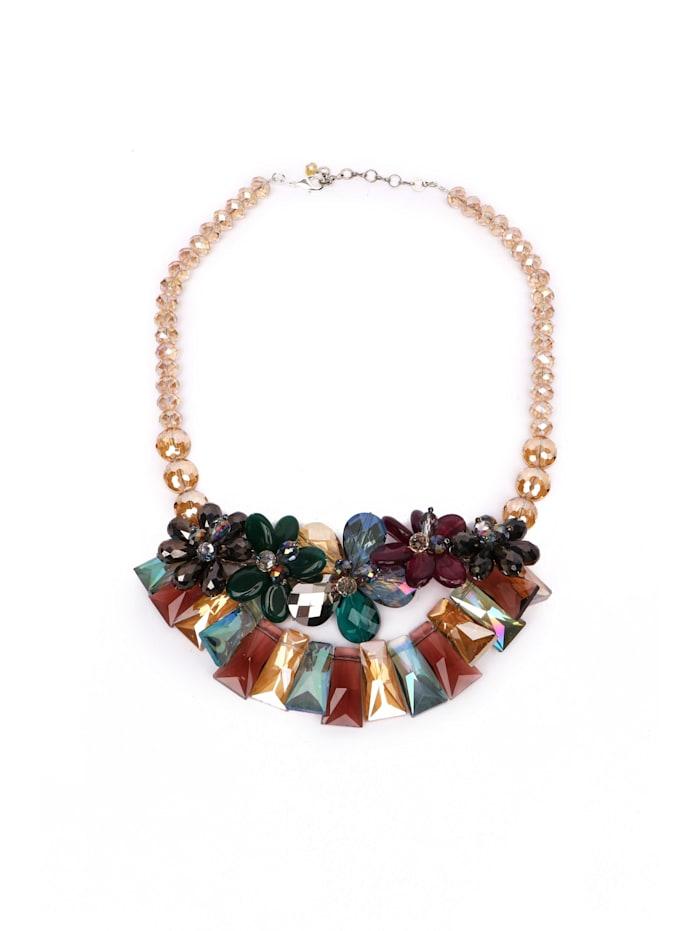 Luxus Statementkette Rahel Blüten aus Glasperlen geschliffene Glasperlen