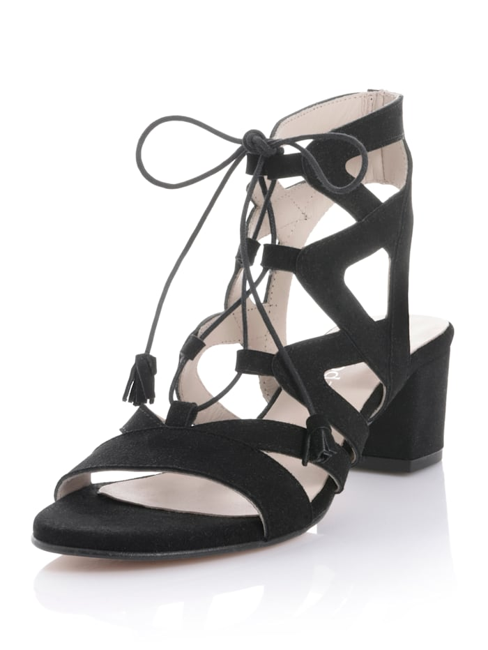 Alba Moda Sandalette aus weichem Ziegenveloursleder, Schwarz