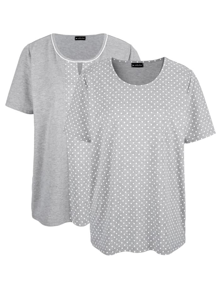 m. collection Doppelpack Shirts 1x uni, 1x mit Pünktchendruck, Silbergrau/Weiß