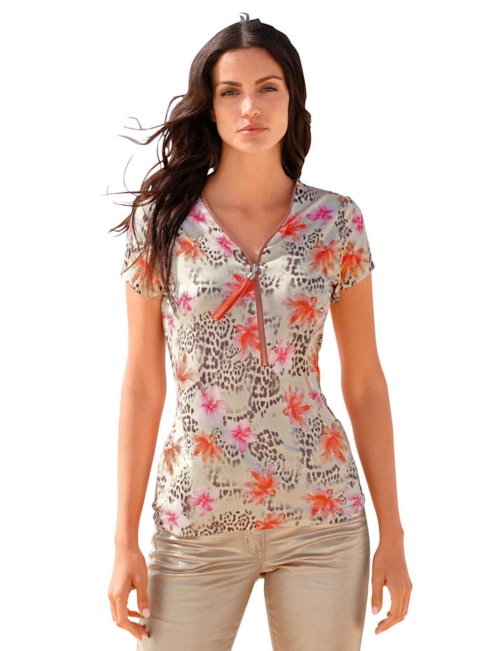 AMY VERMONT Shirt mit verstellbarem Reißverschluss am Ausschnitt, Beige/Braun/Apricot