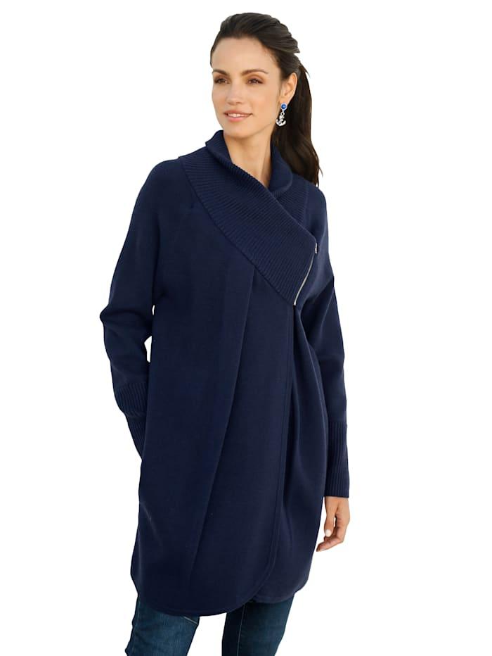 AMY VERMONT Vest met brede gebreide boord aan de kraag, Blauw