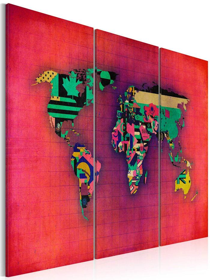 artgeist Wandbild Die Welt ist mein - Triptychon, Violett,Rot,Orange,rosa,Türkis
