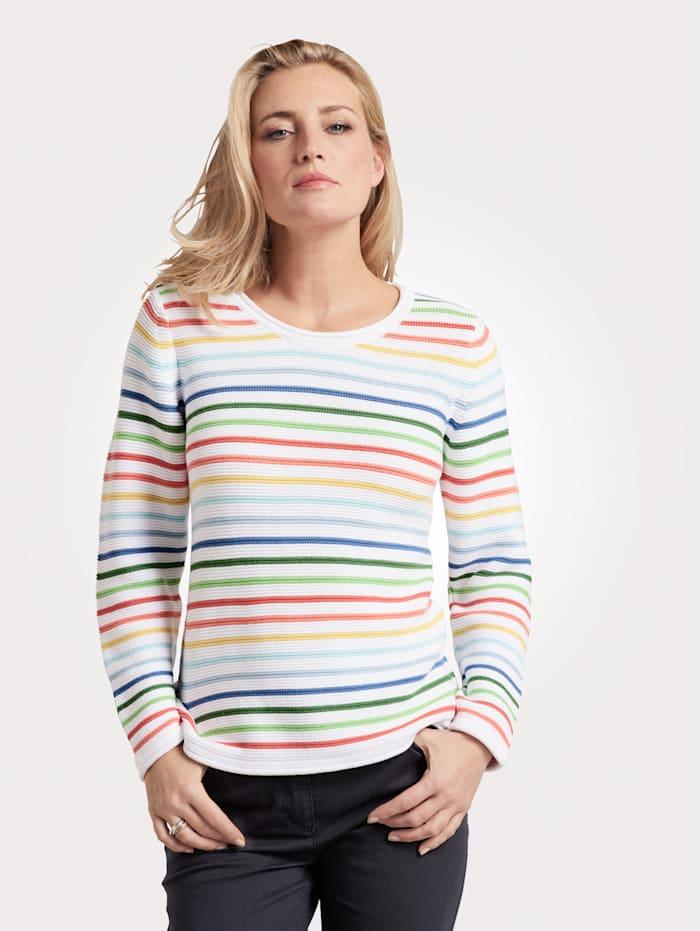 MONA Pull-over à rayures colorées, Blanc/Multicolore