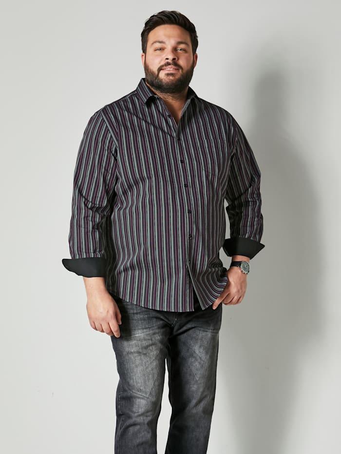 Men Plus Hemd aus reiner Baumwolle, Schwarz/Beere
