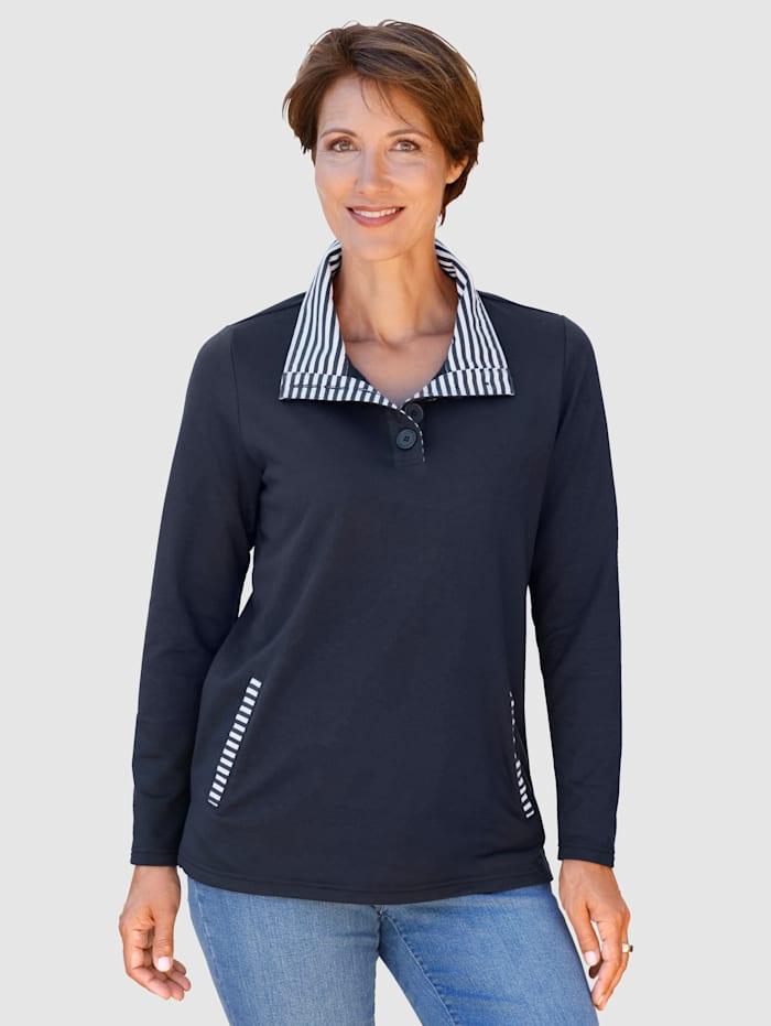 Paola Sweatshirt met gestreepte details, Marine
