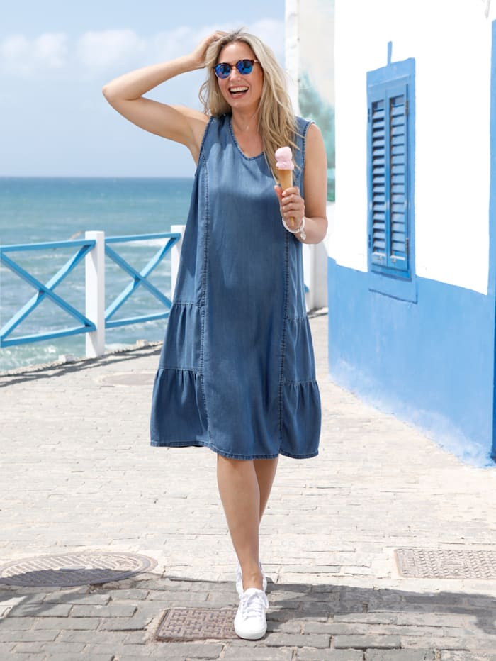 MIAMODA Kleid mit modischen Quernähten, Blau