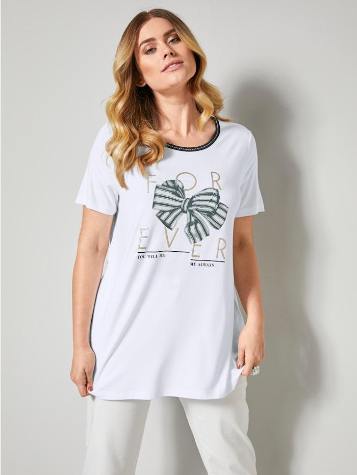 Sara Lindholm Shirt met strikjesprint, Wit/Marine