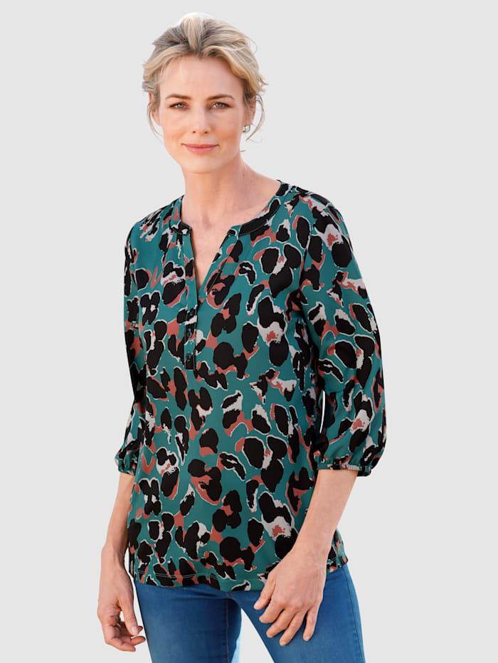Dress In Blouse à imprimé léopard, Émeraude