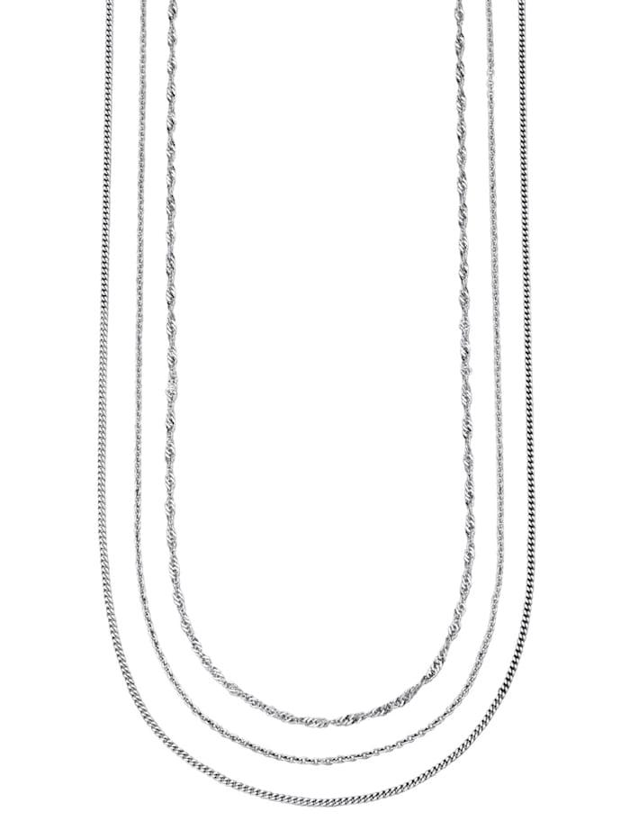 Halskedjor, 3 st., Silverfärgad