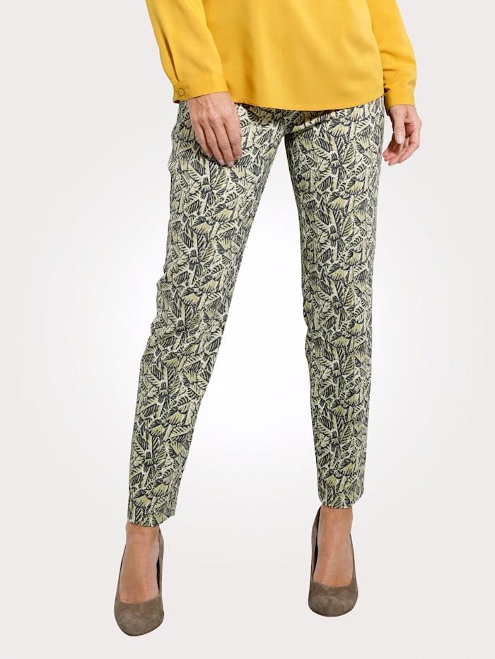MONA Pantalon à jacquard graphique, Vert clair/Marine