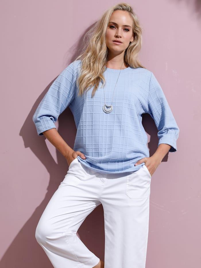 MIAMODA Sweatshirt van structuurmateriaal, Lichtblauw