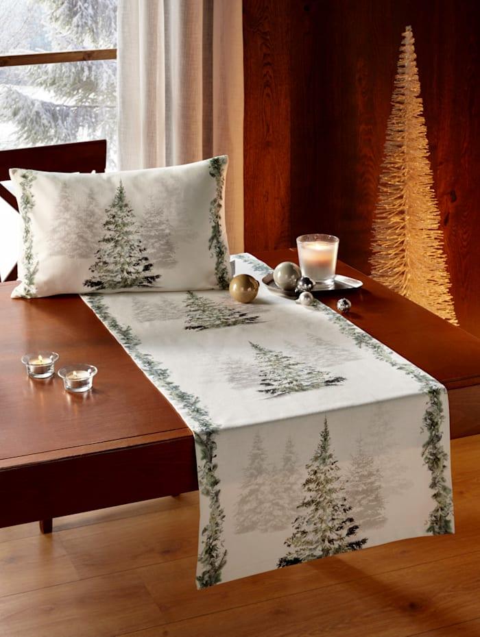 Apelt Tafelloper Kerstboom, ecru/groen