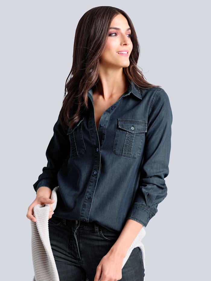 Alba Moda Jeansbluse in angesagter leichter Waschung, Dark blue