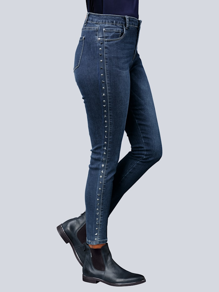 Jeans mit effektvoller Verzierung entlang der Außennaht