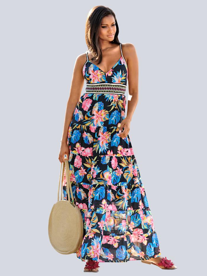 Alba Moda Strandklänning med korslagda axelband, blå/flerfärgad