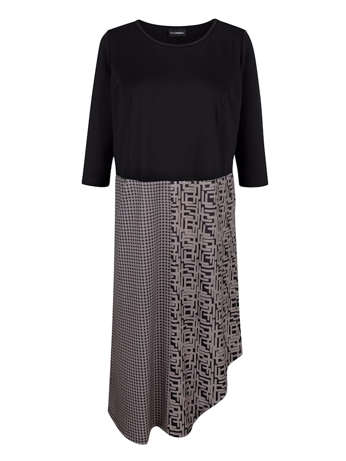 MIAMODA Kleid mit modischem Mustermix, Schwarz/Grau