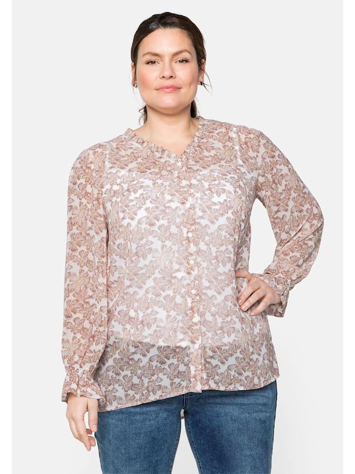 Sheego Bluse mit Rüschen, transparent, rosa bedruckt