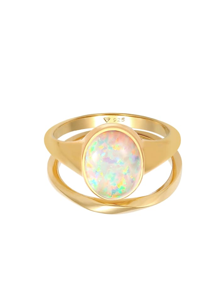 Ring Set Klassik Opal Basic Twist 925 Silber Vergoldet